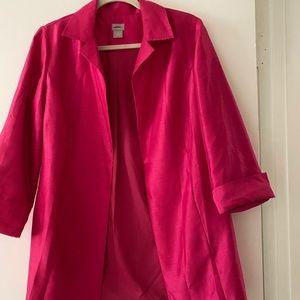 CHICO's open front silk/wool blazer